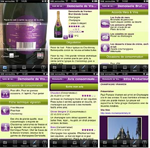 Captures d'écran de l'application iPhone ConseilVin